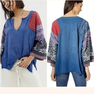 Free People Shibuya Boho Patchwork Blue Raw Edge
